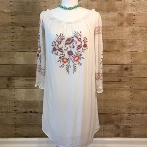 Xhilaration Boho White Embroidered Dress Size Med